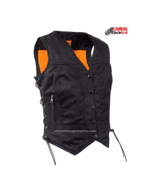 Womens Denim Motorcycle Vest Black