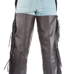 Black Leather Pants Chaps Braided Fringes