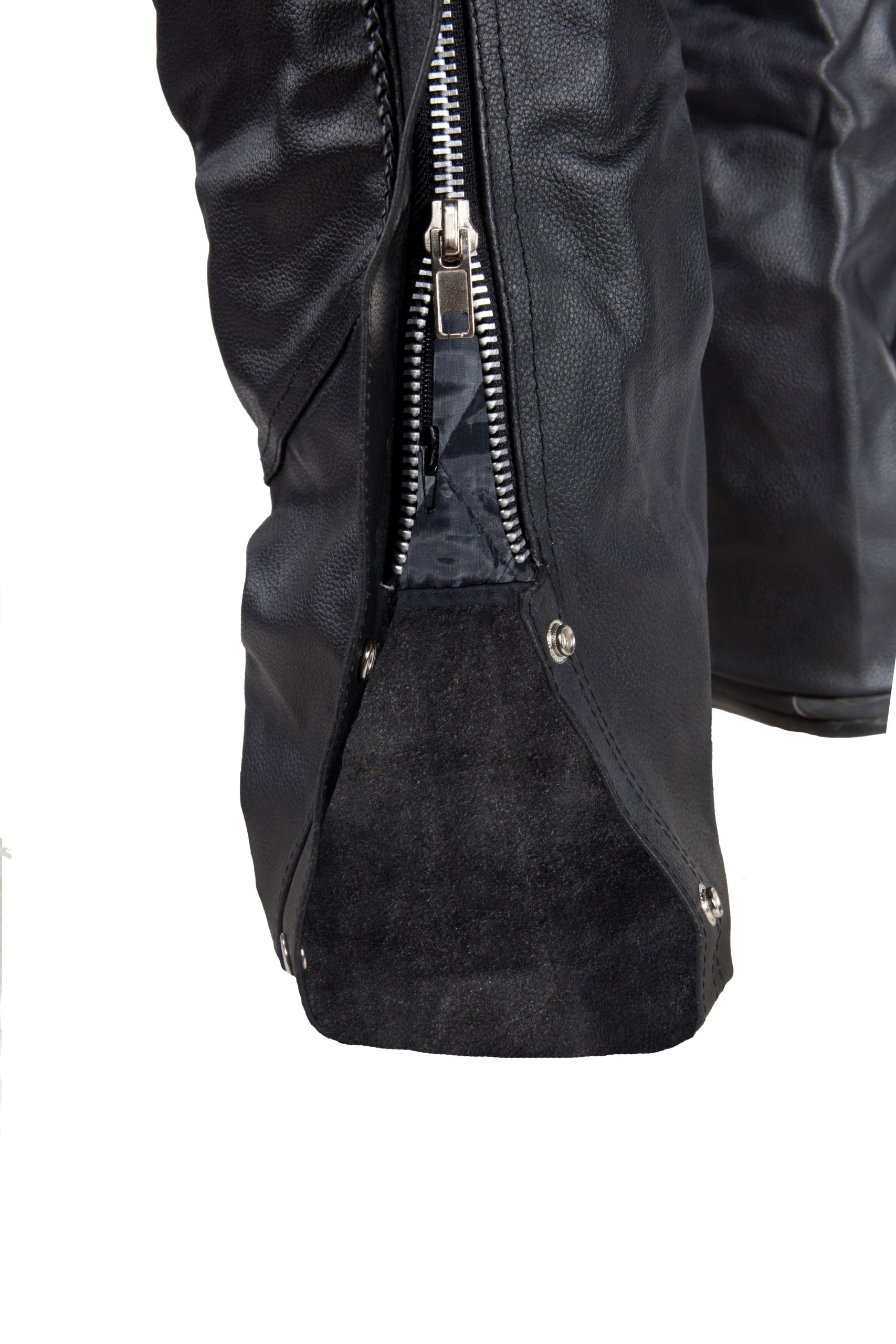 Black Riding Leather Chap with Zipper
