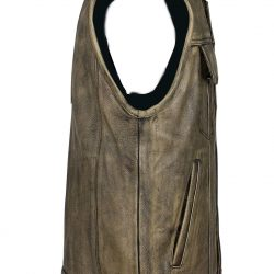 Brown Distressed Motorcycle Club Vest