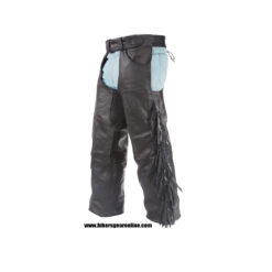Leather chaps fringe black