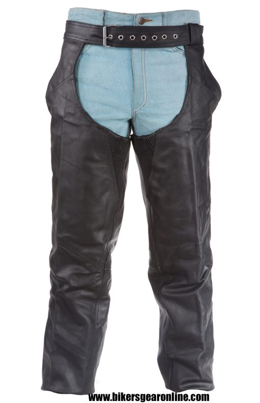 Mens Black Leather Motorcycle Chaps
