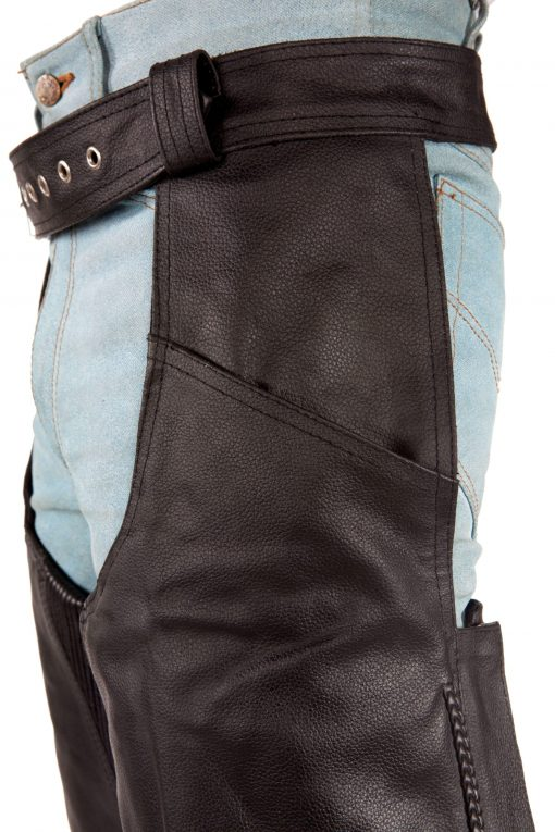 Mens black leather Motorcycle Chaps Pants