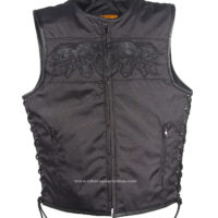 Mens Black Motorcycle Vest Reflective Skull