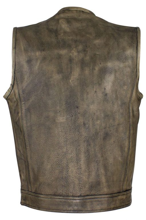 Mens Brown Distressed Motorcycle Jacket Club Vest