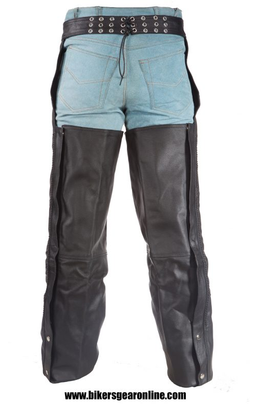 Mens Leather Chaps Motorcycle Braided