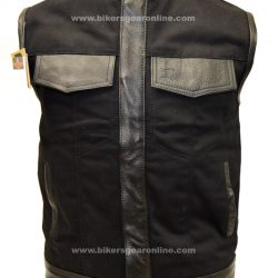 Mens Motorcycle SOA Black Denim Vest