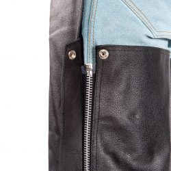 Motorcycle Black Leather Chap pant fringes Braided