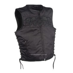Reflective Skull Motorcycle Vest Black