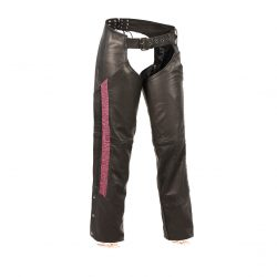 Womens Leather Chaps Hip Pockets Purple
