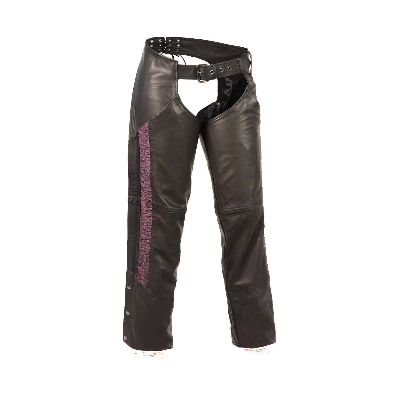 Womens Leather Motorcycle Chaps Purple Leg Strip