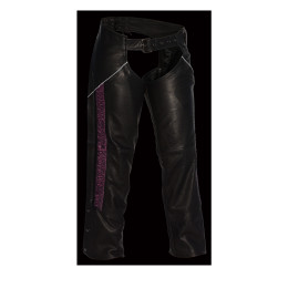 Womens leather Pants hip pockets purple