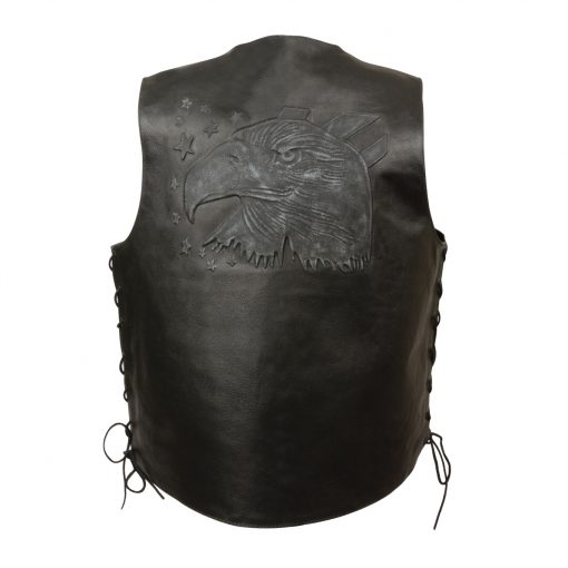 black embroidered leather motorcycle vests