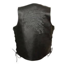 Black Embroidered Leather Motorcycle Vests Indian Head laces