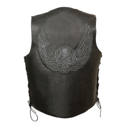 Black Mens Skull Wings Embroidered Leather Jackets