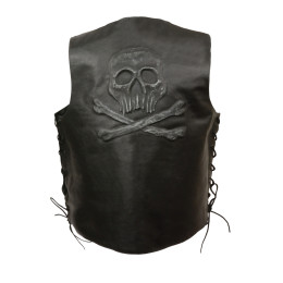 Black Skull Embroidered Leather Motorcycle Vest