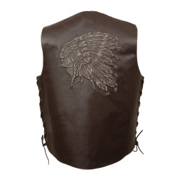 Brown Embroidered Leather Motorcycle Jacket Indian Head