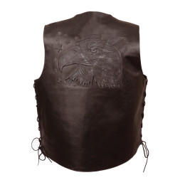 Brown Embroidered Leather Motorcycle Vests Back