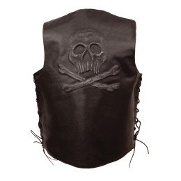 Brown Skull Embroidered Leather Motorcycle Jacket