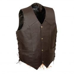 Brown Skull Wings Embroidered Leather Vests Jacket
