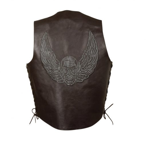 brown skull wings embroidered leather vests mens