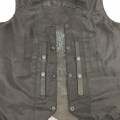 mens black skull wings embroidered leather vest