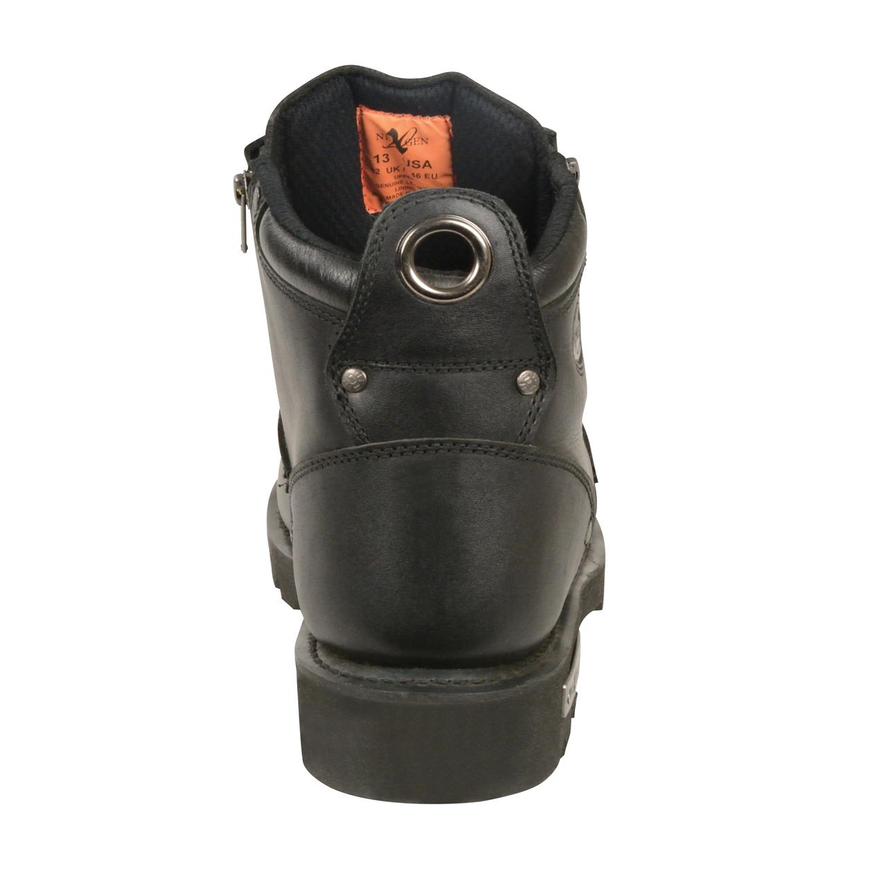 Mens lace to toe Biker boots Black Leather