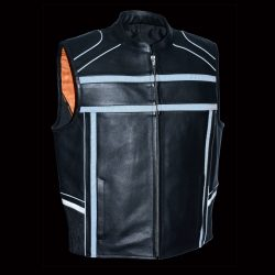 Mens Reflective Band Pipping Zipper Vest