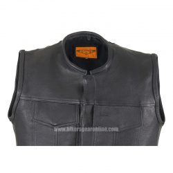 Black Mens Leather Motorcycle Vest