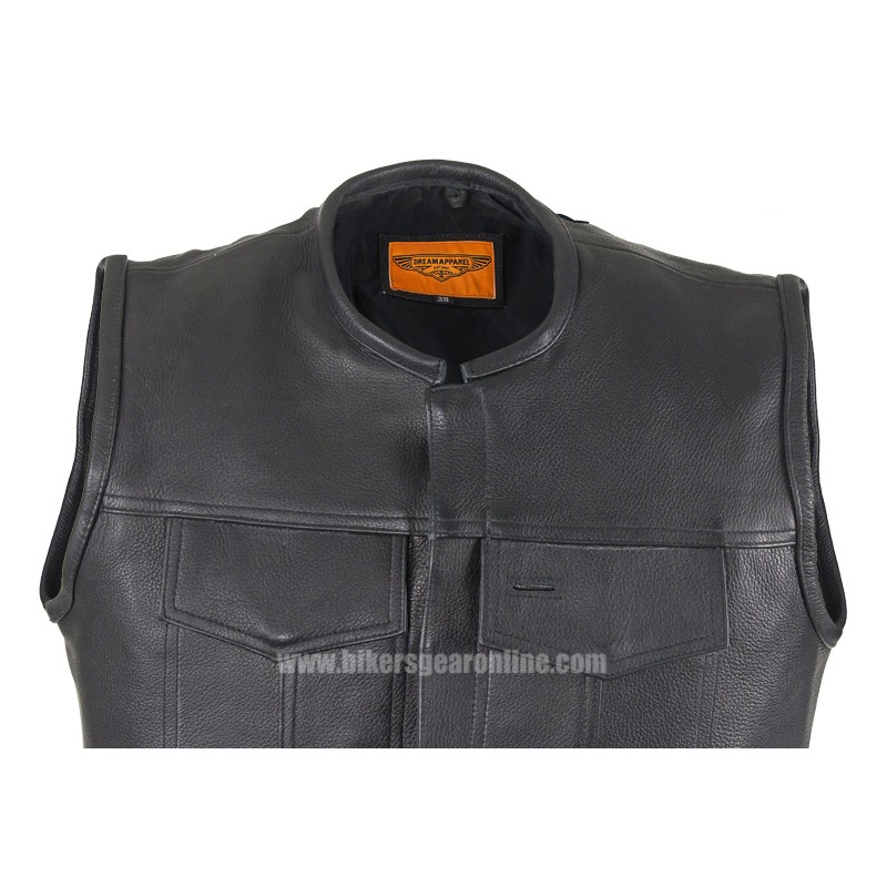 Well-liked Men's Black Leather Motorcycle Club Vest 1/2
