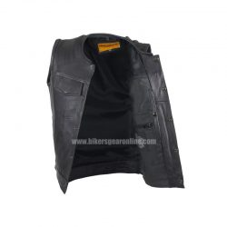 Mens Black Leather Motorcycle Club Vest Collars
