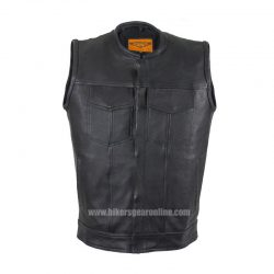 Mens Leather Motorcycle club vest