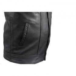 Motorcycle Leather Club Vest Side Pockets