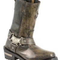 women's biker leather boots brown