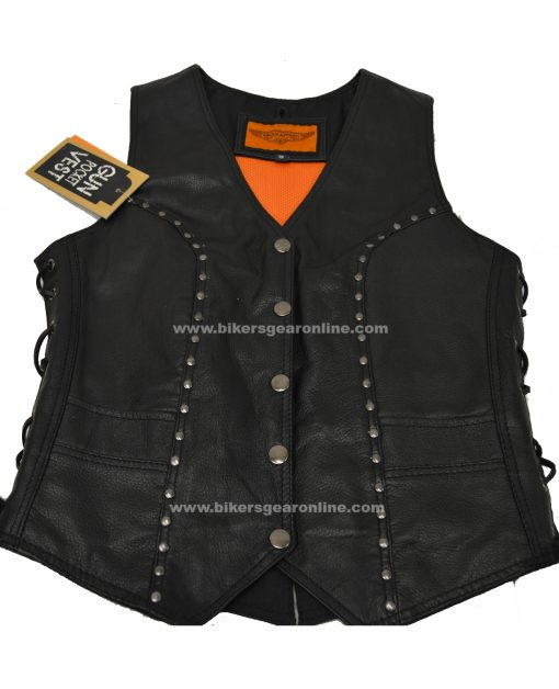 womens black soft leather vest gun pocket