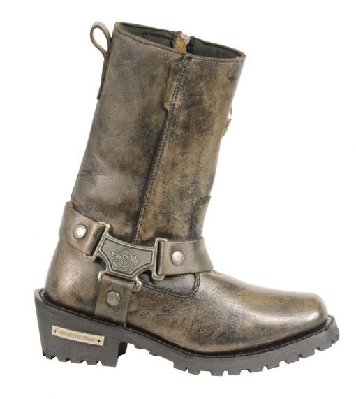 womens brown leather biker boots