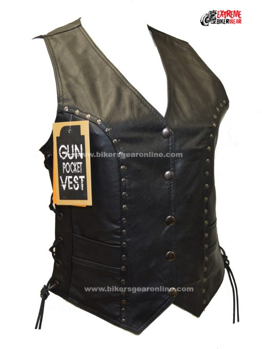 Womens Motorcycle Leather Vest Black