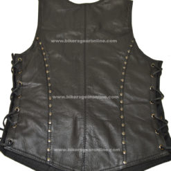 womens motorcycle studded black leather jacket