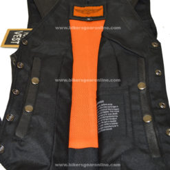 womens studded motorcycle leather vest black