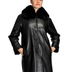 MASON & COOPER LARA LAMB/FOX COLLAR SWING COAT