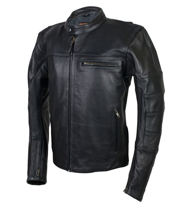 High Mileage Men S Leather Vented Scooter Jacket With