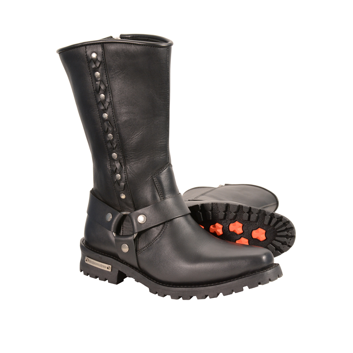 Men S Real Leather J Toe Motorcycle Harness Boots W