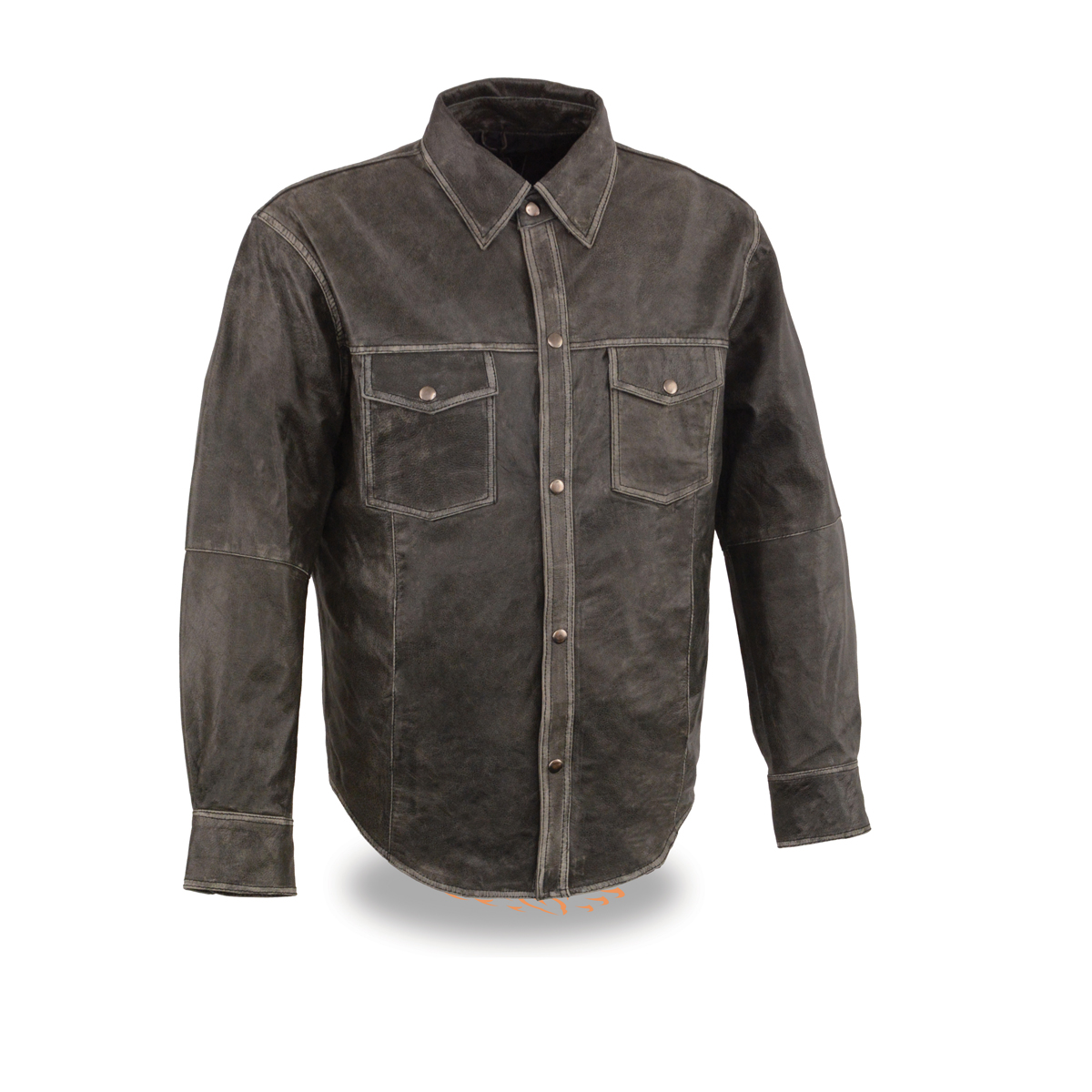 Men s distressed grey lightweight leather snap front shirt for Leather jacket and shirt