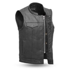 Leatherick Mens Sons of Anarchy Collarless Genuine Real Leather Biker Vest Black