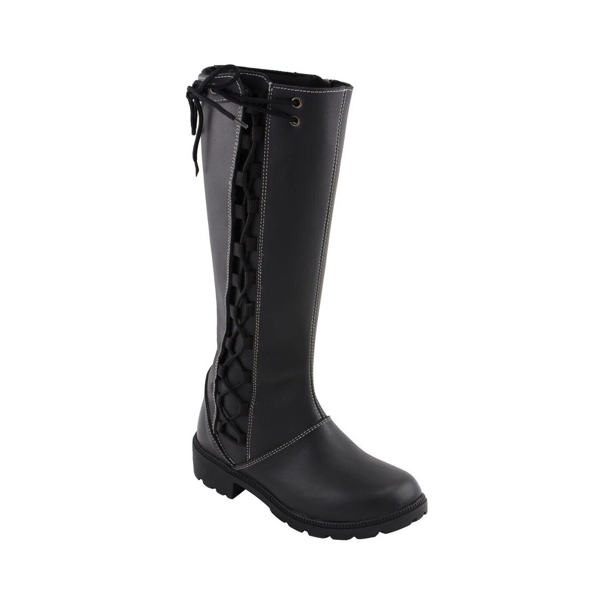 Milwaukee Leather MBL9370 Womens 17 Inch Black Lace Side Boot with Contrast White Stitching 10