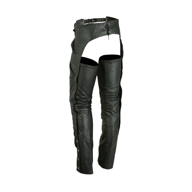 Mens Leather Assless Chaps - Motorcycle Chaps - Biker Chaps