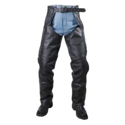 mesh lined and braided z o insulated leather chaps front view 58214.1594446035.1280.1280