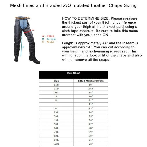 mesh lined and braided z o insulated leather chaps sizing info 73279.1594446037.1280.1280